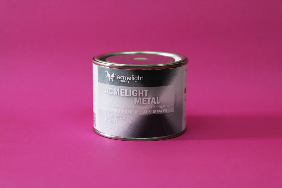 Світна фарба по металу AcmeLight Metal помаранчева з помаранчевим світінням 0,75 л