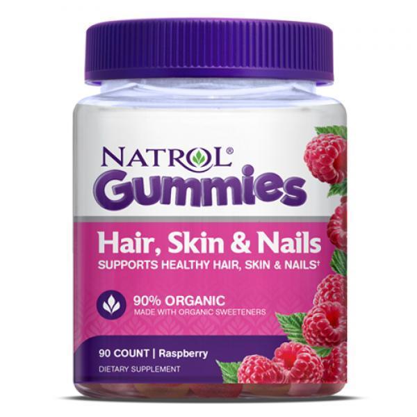 Витамины Natrol Hair, Skin & Nails Gummies 90 конфет Вкус: Малина