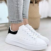 Белые кроссовки на толстой подошве женские, фото 3