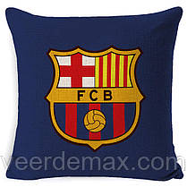 Подушка с логотипом фк Барселона 45 х 45 см льняная