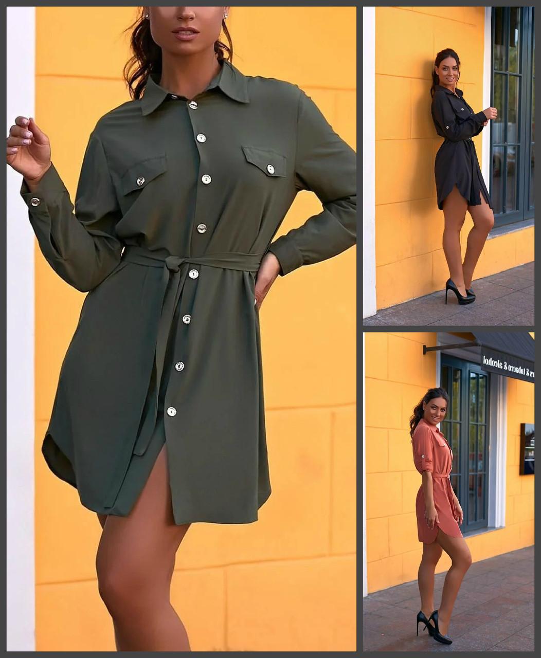 Купить Р. 42-52. Платье-рубашка на пуговицах с длинным рукавом молодежное. Розовое, зеленое, черное платьице с поясом.