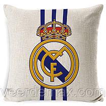 Подушка с логотипом фк Реал Мадрид 45 х 45 см льняная