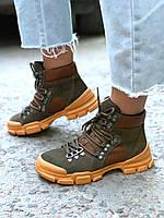 Женские кожаные ботинки демисезон хаки+рыжий, фото 1