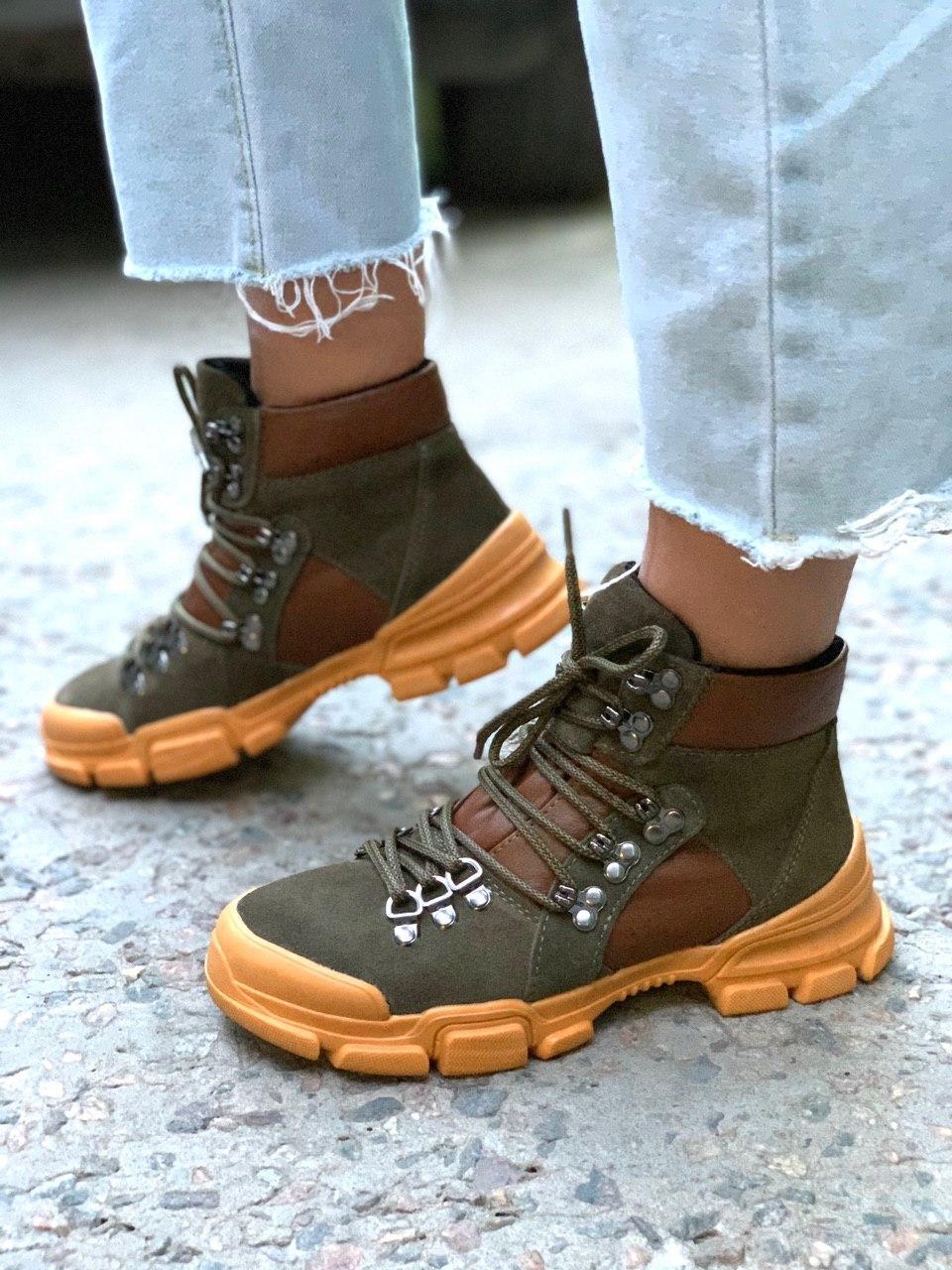 Женские кожаные ботинки демисезон хаки+рыжий