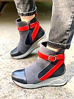 Женские ботинки демисезон из натуральной кожи и замши серые с синим, фото 1