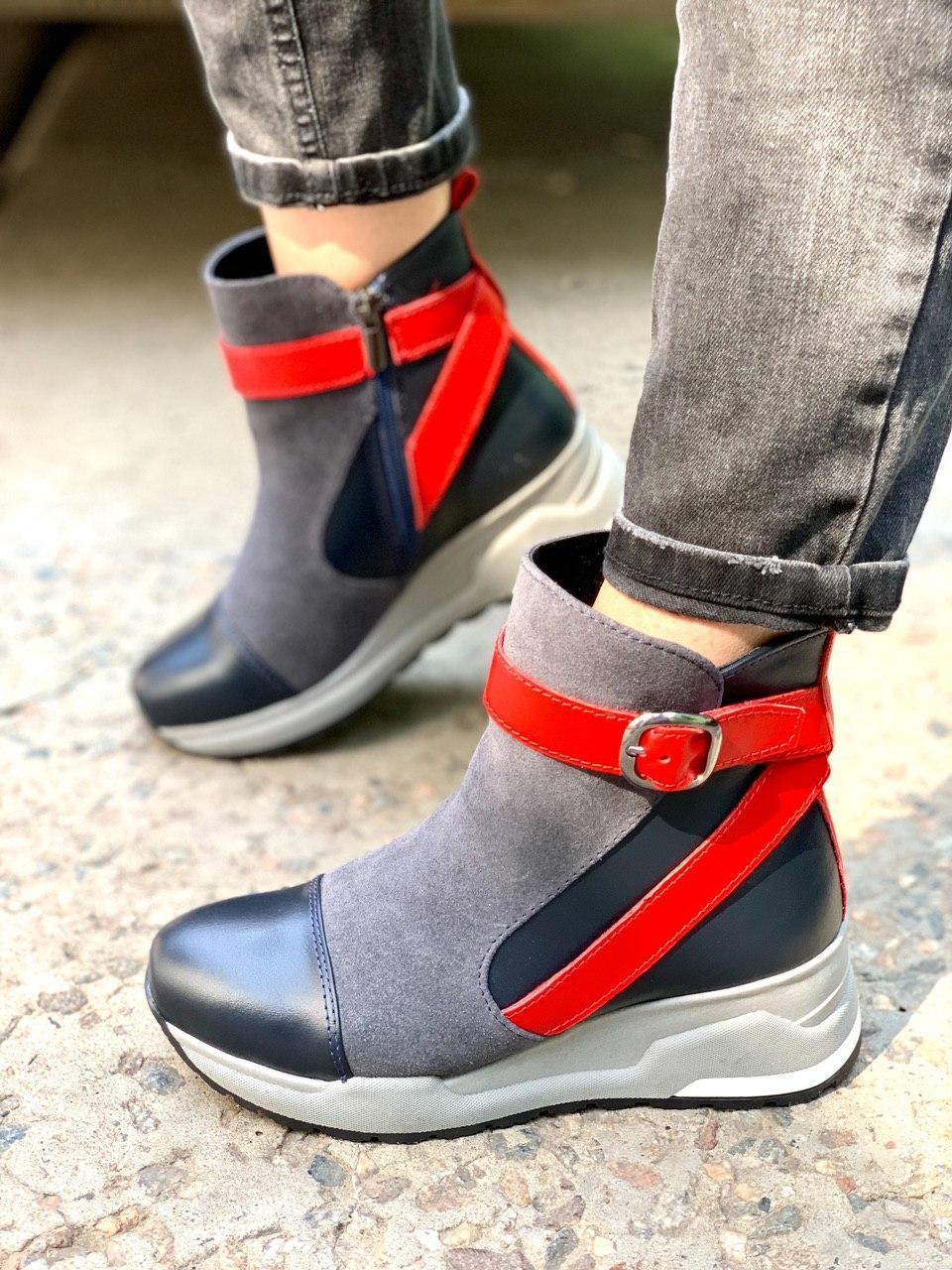 Женские ботинки демисезон из натуральной кожи и замши серые с синим