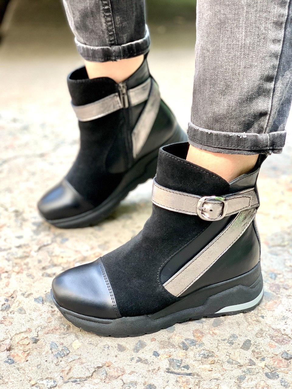 Женские ботинки демисезон из натуральной кожи и замши черные + никель