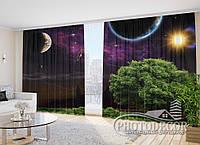 """Фото Шторы """"Дерево в Космосе"""" 2,7м*4,0м (2 полотна по 2,0м), тесьма"""