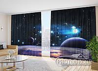 """Фото Шторы """"Звездное небо и планеты"""" 2,7м*4,0м (2 полотна по 2,0м), тесьма"""