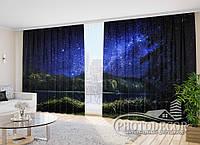 "Фото Шторы ""Звездное небо над лесом"" 2,7м*4,0м (2 полотна по 2,0м), тесьма"