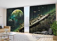 """Фото Шторы """"Космические корабли и планеты"""" 2,7м*4,0м (2 полотна по 2,0м), тесьма"""