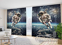 """Фото Шторы """"Космонавты"""" 2,7м*4,0м (2 полотна по 2,0м), тесьма"""