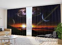 """Фото Шторы """"Космос на закате"""" 2,7м*4,0м (2 полотна по 2,0м), тесьма"""