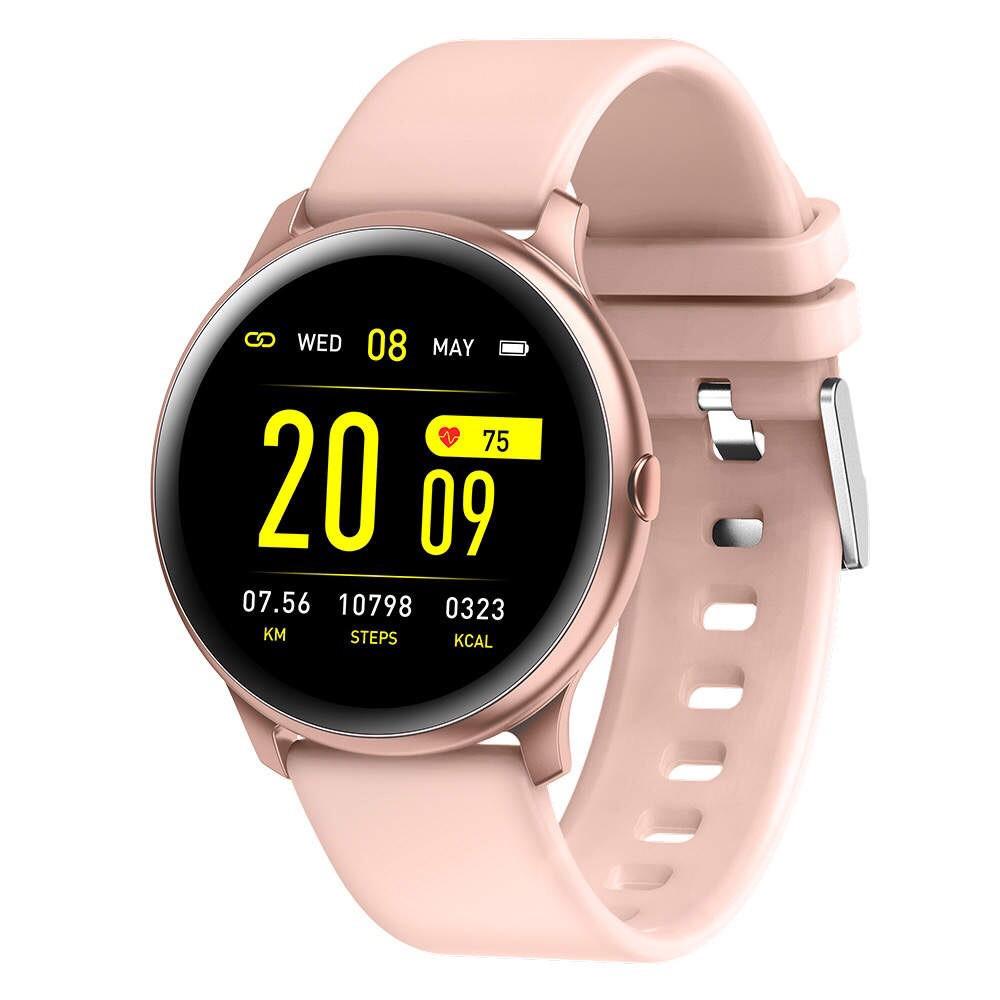 Жіночі стильні водонипроницаемые смарт годинник Reloj inteligente Smartwatch KW19 IP68 Pink ( фітнес браслет)