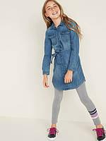 Стильное джинсовое платье-рубашка Олд Неви для девочки