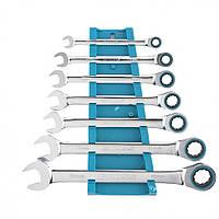 Набор ключей комбинированных с трещоткой, 8-19 мм, 7 шт, CrV Gross 14890