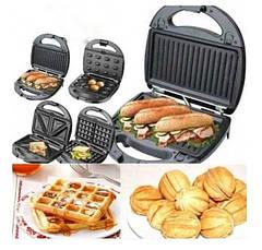 Мультимейкер GrandHOFF 4в1 вафельница, бутербродница, орешница, гриль со съёмными формами 1200 Вт
