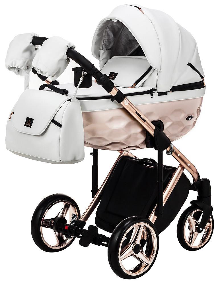 Детская коляска универсальная 2 в 1 Adamex Chantal Star Polar (Pink Gold) кожа 100% 106 (Адамекс, Польша)