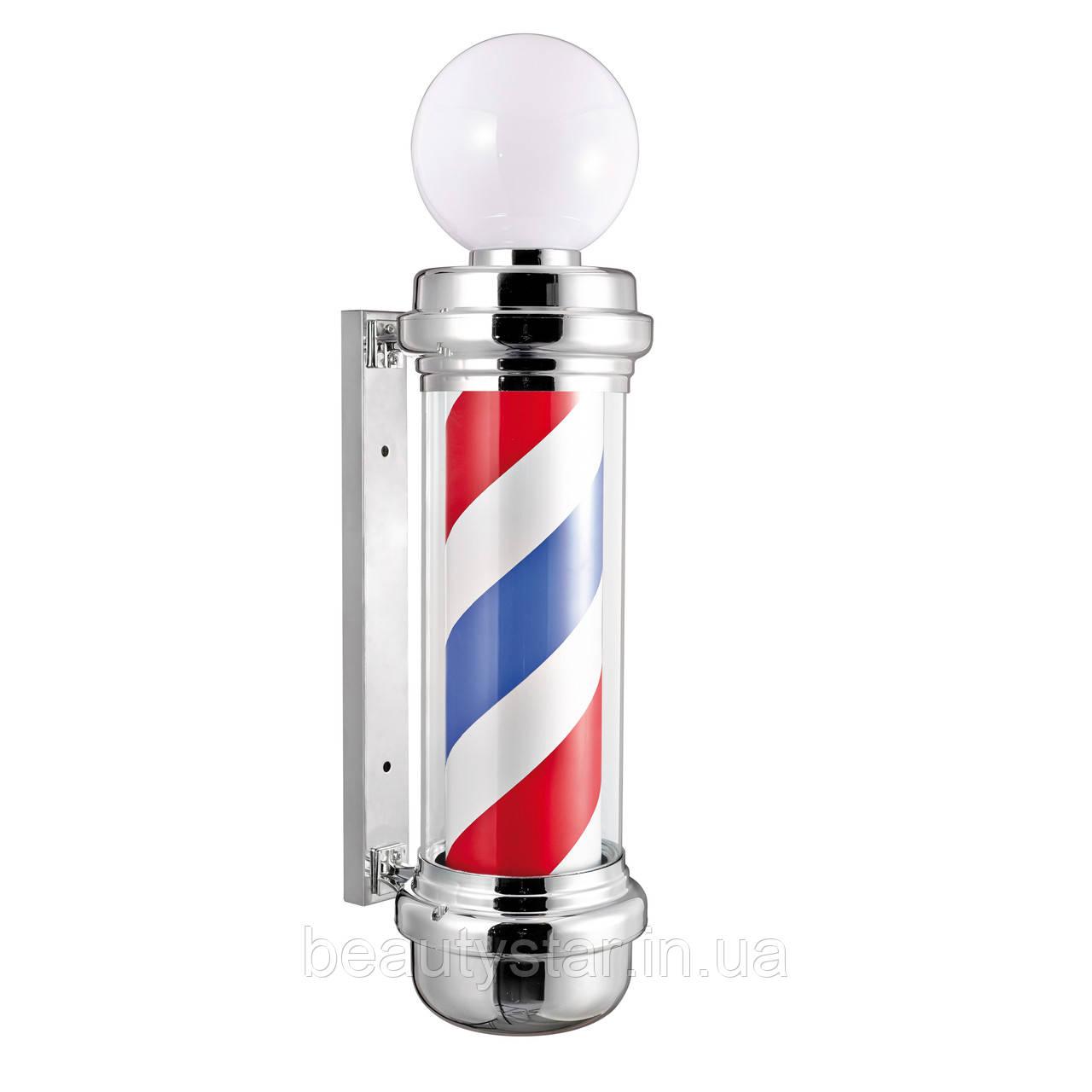 Вивіска Барбер пул рекламний ліхтар Barber Pole хром з плафоном 85x31x23 см Іспанія