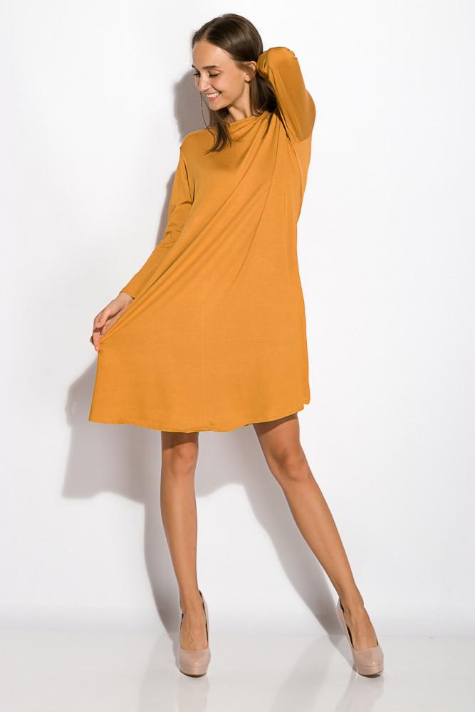Платье-туника с круглым вырезом 317F054 (Светло-горчичный)