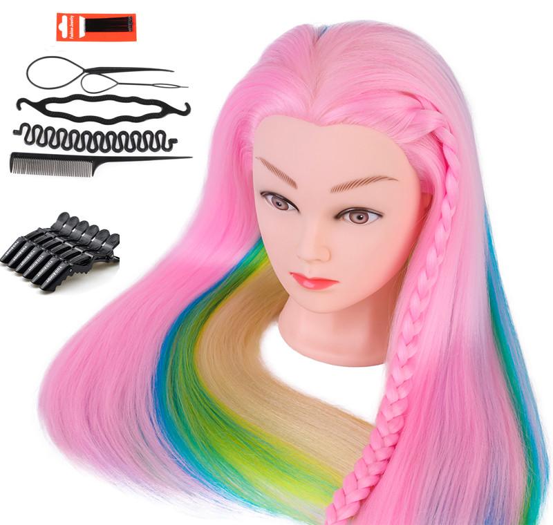 Голова для причесок с искусственными цветными волосами с набором для плетения