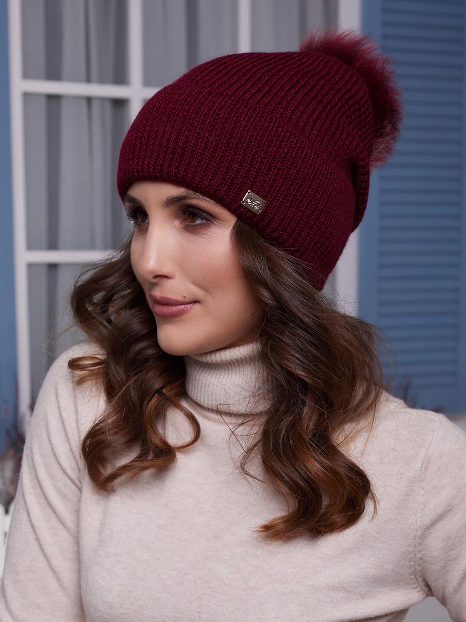Жіноча шапка Іріда з помпоном натуральним песцовым