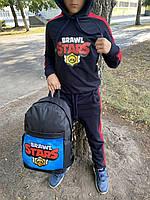 Спортивный костюм детский для мальчика Brawl Stars черно-красный осенний весенний демисезонный ЛЮКС