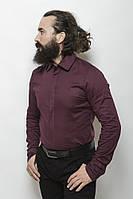 Классическая мужская однотонная рубашка цвета гнилой вишни