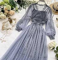 Красивое платье со вставками кружева Код292ВИ