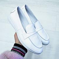 Модные лоферы туфли на летне-осенние из натуральной кожи белые размер 36-41, стильная женская обувь 2020
