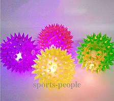 Мячик массажный, детский, светящийся, пищит, Ø 7.5 см, окружность 24 см, разн. цвета