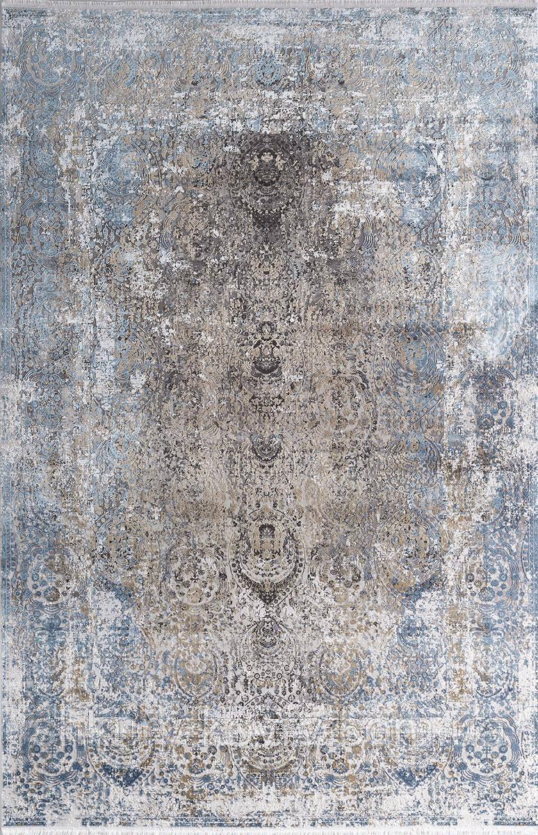 Світлий шовковий килим з блакитними оливковими і сірими вкрапленнями