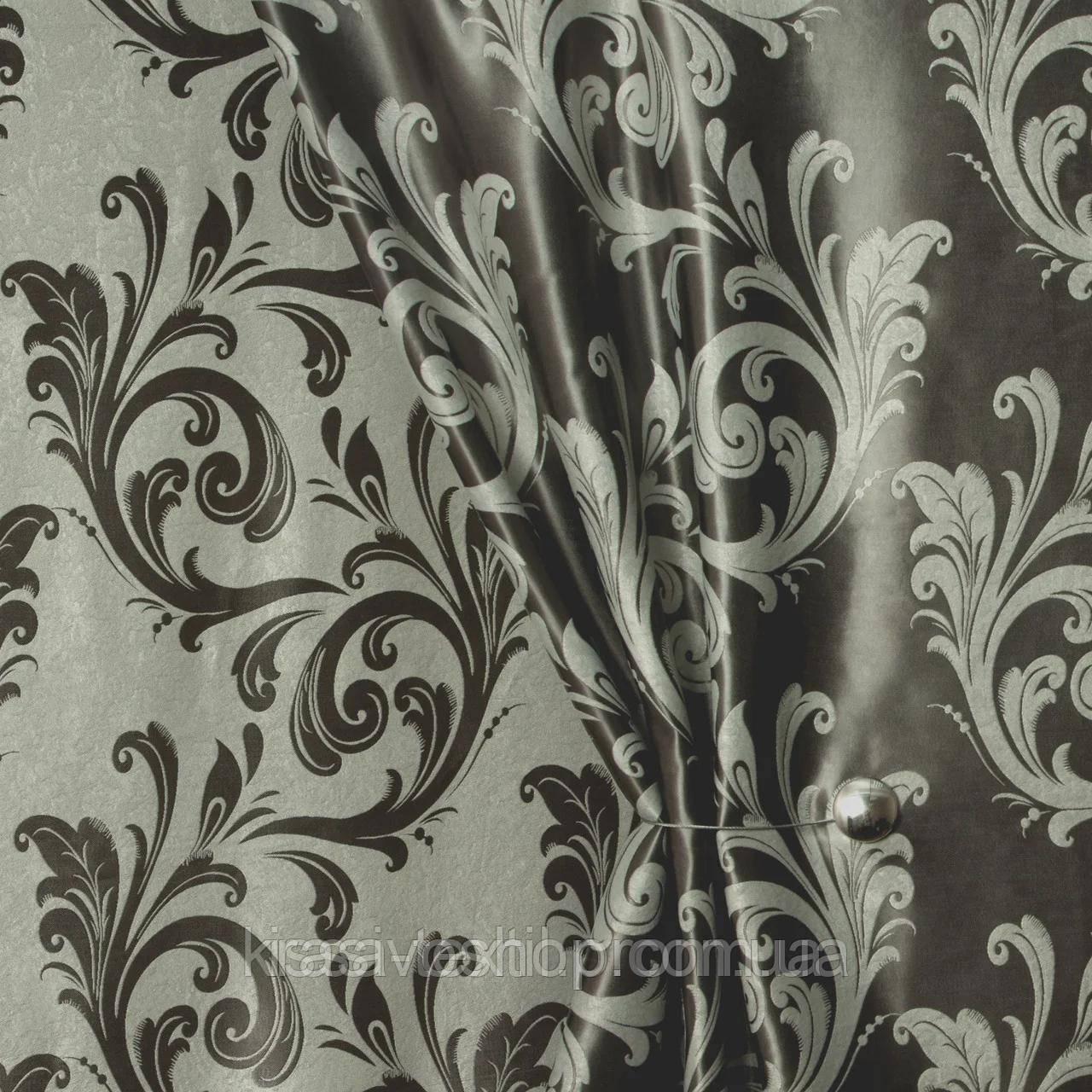 Ткань  блэкаут  Венеция серая с серебром
