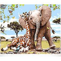 Картина по номерам Babylon Слон и жираф DZ629 50*40. На холст с подрамником.