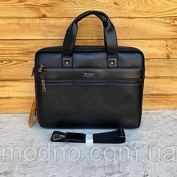 Мужской вместительный деловой портфель чёрный