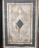 Строгий классический плотный шелковый ковер с синим рисунком и бежевым фоном, фото 4