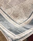 Строгий классический плотный шелковый ковер с синим рисунком и бежевым фоном, фото 5