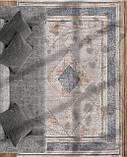 Строгий классический плотный шелковый ковер с синим рисунком и бежевым фоном, фото 7