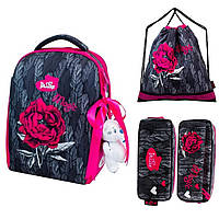 Рюкзак школьный DeLune набор (пенал, сумка, брелок) Цветок 7-149, фото 1