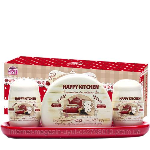 """Набор для специй и подставка для салфеток """"Happy Kitchen"""" (салфетница) на керамической подставке"""