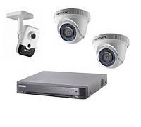 Комплект видеонаблюдения на 2 Turbо HD и 1 IP со звуком камеры с регистратором