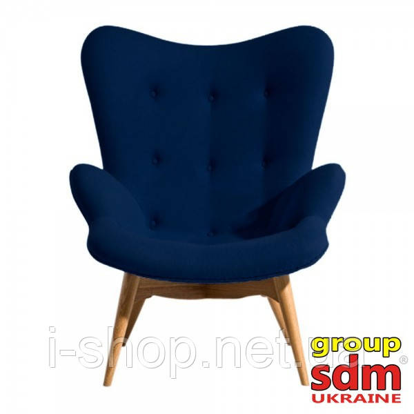Кресло Флорино, мягкое, дерево бук, цвет синий