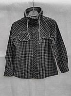 Модная рубашка-кофта в клетку для мальчиков на меху размер: 128