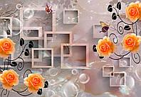 """Фотообои виниловые на флизелиновой основе """"Оранжевые цветы.3D"""" 368х254см"""