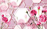 """Фотообои виниловые на флизелиновой основе """"Розовые цветы.3D"""" 368х254см"""