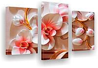 Модульные картины 3Д цветы. Любых форм и размеров.