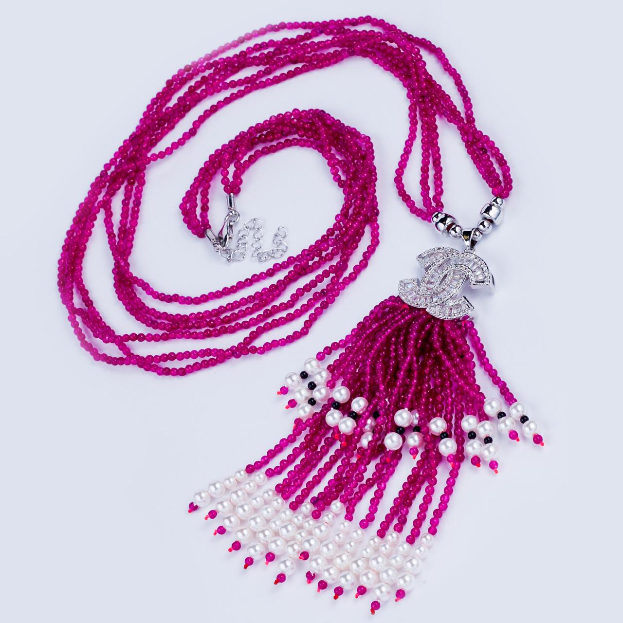 Колье в стиле Шанель с багетами циркония и венецианским жемчугом - J-B  в Одессе