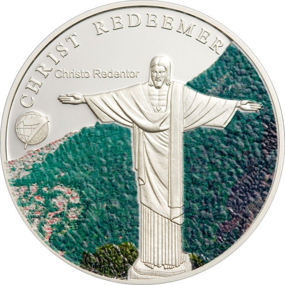 """Срібна монета серії """"Нові 7 чудес світу"""" Статуя Христа-Спасителя"""