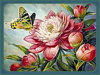 Картина бисером в рамке Идейка Бабочка на пионе (ВБ1006) 30 х 40 см