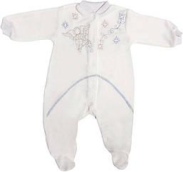 Крестильный нарядный человечек рост 56 0-2 мес велюровый белый на мальчика одежда для крещения крестин новорожденных малышей Б784